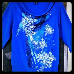 Sz 1X Thin Weight Graphic Blue Tunic Top Style Co.